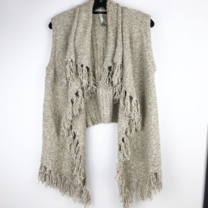 Kensie Womens Large Beige Sweater Vest Fringe Open